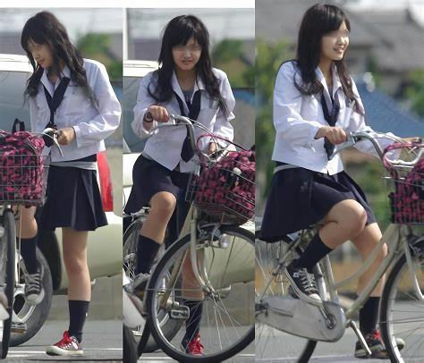 三次元 3次元 エロ画像 街撮り 素人 女子校生 JK 自転車 べっぴん娘通信 33