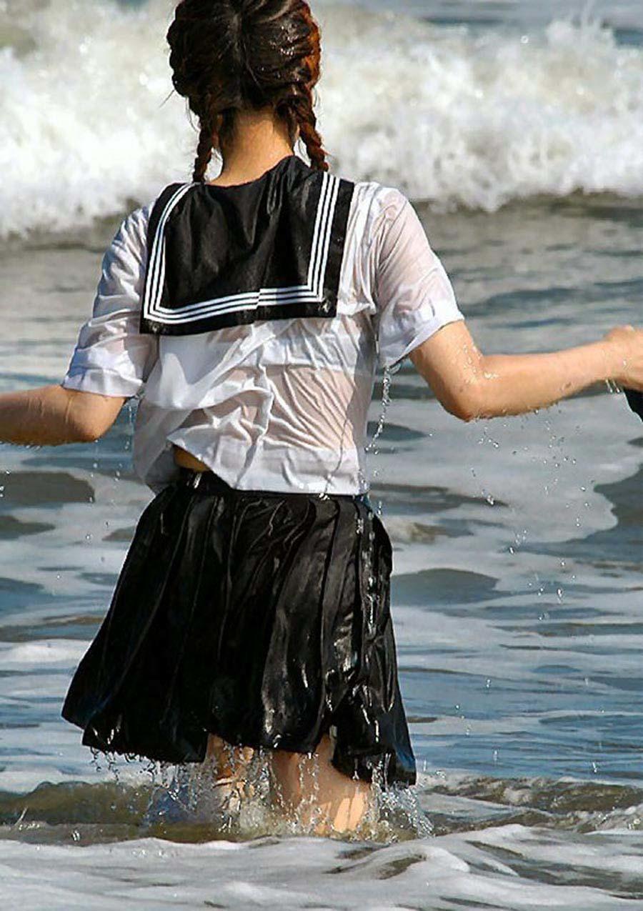 三次元 3次元 エロ画像 JK 女子校生 透け透け ずぶ濡れ べっぴん娘通信 09
