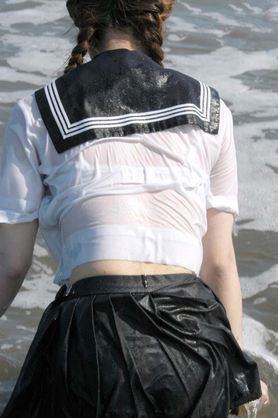 三次元 3次元 エロ画像 JK 女子校生 透け透け ずぶ濡れ べっぴん娘通信 25
