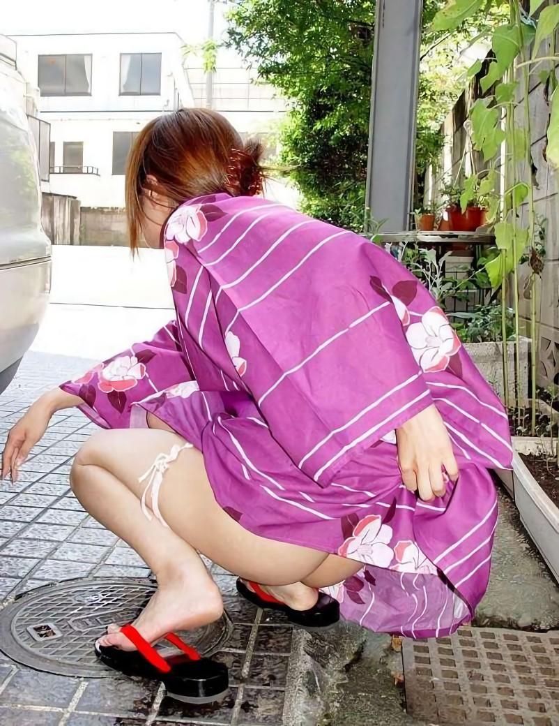三次元 3次元 エロ画像 浴衣 和装 野外 屋外 露出 羞恥 べっぴん娘通信 36